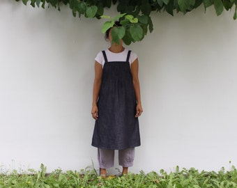 Women's denim pinafore dress, apron dress, denim overall dress. Japanese style clothing. Plus size. Sustainable clothing, made in Italy.