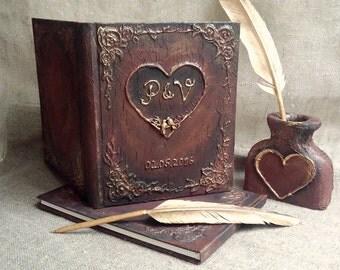 Rustic wedding guest book Personalized  Wedding guest book set vintagelook journal  Pen holder  Gold feather pen