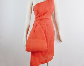 Vintage GIVENCHY NOUVELLE BOUTIQUE One Shoulder Deep Coral Red Gala Draped Ruched Wiggle Dress Size Small