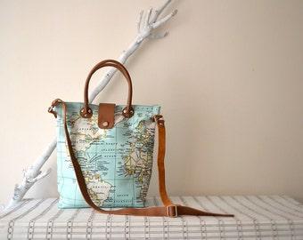 Bright Mint Bag, Mint World Map Bag, Leather Canvas Tote, Tan Leather Crossbody Bag, World Map Diaper Bag, Handbag, Purse, World Map Printed
