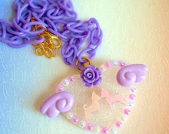 Chihuahua Love Necklace - Heart, Lilac, Kawaii, Sparkles, Holographic, Fairy Kei, Wings, Sweet Lolita