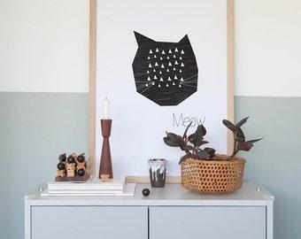 Poster - Meow ' 50x70 cm Modern Art Prints Wall Art Prints Geometric Poster Poster Kids room Posters Nursery room