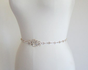Swarovski crystal skinny bridal belt sash, Wedding belt sash, Rhinestone bridal belt, Skinny bridal belt sash full length, Swarovski sash