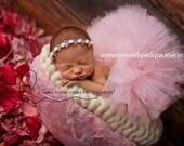Sweet Rose Garden Tutu Newborn Tutu Custom Made With Matching Vintage Rose Rhinestone Headband Stunning Newborn Photo Prop