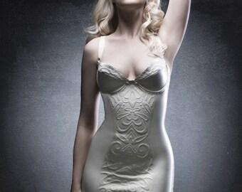 Embossed latex dress