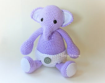 MADE TO ORDER- Crochet Baby Elephant, Amigurumi elephant, stuffed animal toy, baby gift, choose your colors!
