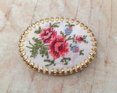 Romantic Roses Brooch / Vintage Needlepoint Floral Rose Garden Oval Pin / Prong Set Gold Tone Frame Setting / Flower Embroidery