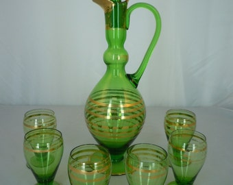 "Vintage 1960's Green Glass Decanter Set with Six Glasses Gold Trim Beautiful Bar Ware 16"" tall"