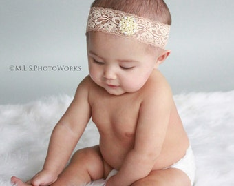 Bohemian Style Pearl and Lace Head Wrap in Natural Beige for Babies, Girls and Women