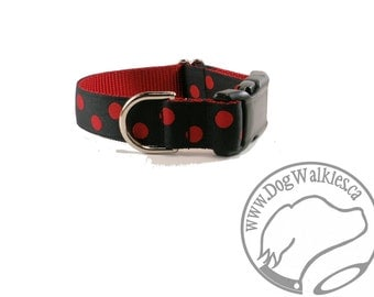 """Reverse Lady Bug Dog Collar - 1"""" (25mm) Wide - Martingale or Quick Release Buckle - Your Choice of size and style // Black // Red // Dotted"""