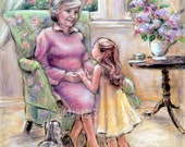 "Children's Art, Grandma Grandparent, Nanna and child ""Tell Me Again, Grandma"" Canvas or cotton paper art Print, Laurie Shanholtzer artist"