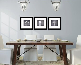 Kitchen Art - Dining Room - Vintage Silverware - Set of Three (3) Kitchen Decor - Fine Art Photography - Neutral - Black Gray Home Decor