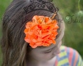 Neon Orange Eyelet Fabric Flower Headband - Newborn Baby Casual Dressy Summer Color Hairbow - Little Girls Halloween Basic Color Hair Bow