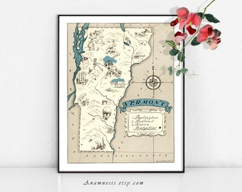 VERMONT MAP - Instant Digital Download - vintage printable state map for framing - fun on totes, pillows & cards - whimsical map art