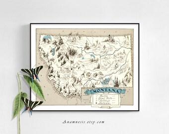 Montana Map Etsy - City map of montana
