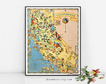 CALIFORNIA MAP - High Res Digital Image - 1935 California picture map - frame it - totes, pillows, prints - fun vintage map art - home decor