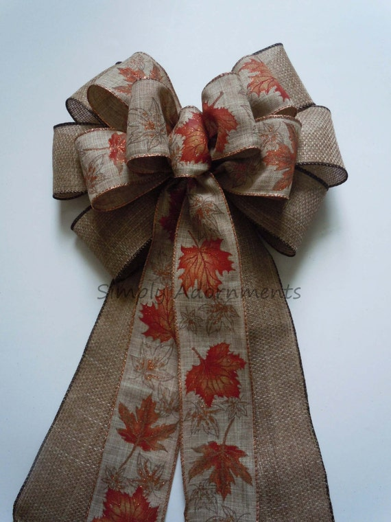 Rustic Burlap Fall Maple Leaves Wedding Pew Bow Thanksgiving Wreath Bow Fall Autumn Leaves Church Aisle Bow Fall Wedding Ceremony Decor