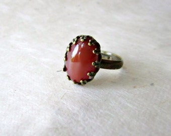 Red Carnelian Ring. Natural Gemstone Ring in Antique Bronze Bezel Setting. Crystal Healing Jewelry. Calcedony Stone Cabochon Ring.