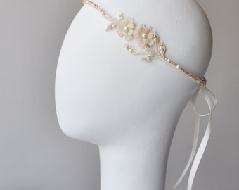 Champagne Lace Bridal Headband, Floral Headpiece with Silk Flowers and Crystals, Champagne Flower Vine Headpiece, Bohemian Wedding Headband