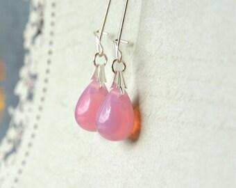 Pink Glass Earrings, Dangle Bead Earrings, Pink Drop Earrings, Pink Bridesmaid Jewelry, Pink Teardrop Earrings, Glass Dangle Earrings UK