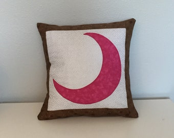 """Gamma Phi Beta (Gamma Phi, G Phi B) Pink and Brown Crescent Moon Sorority Accent Pillow Cushion Includes 12""""x12"""" Pillow Insert"""