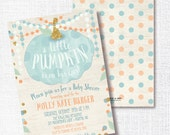 BLUE LITTLE PUMPKIN is on his way fall boy baby shower invitation rustic blue and gold watercolor sprinkle sip and see brunch open house