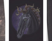 Fiery Nightmare - Dark Equine Fantasy Art - 8x10 Print - Free shipping