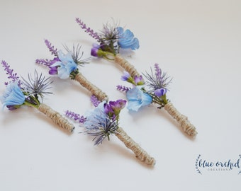 Rustic Wildflower Boutonniere with Lavender, Thistle, and Blue Wildflowers