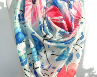 Square Silk Scarf. Hand Paint Scarf. Woman Shawl. Genuine Art on Silk. Mother gift. Silk Painting. Silk head Scarf. 35x35in. Ready2Ship.