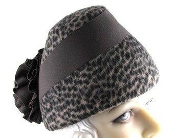 Art Deco 1930s Most Popular Hat of 1935 Animal Print Velour Felt Dark Brown Ribbon Rosette This is a Custom Order