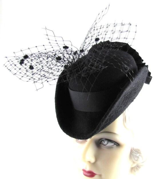 Womens Hat Black Fur Felt Velour Long Haired Veil Ribbon Handmade Hat Derby Ascot Races Art Deco Bride Church Custom Made for Each Client
