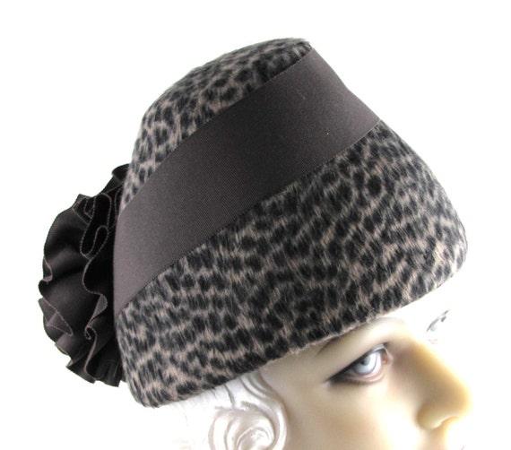 Womens Hat Brown Fur Felt Ribbon Flower Handmade Hat Derby Ascot Fedora Church Cloche Mother of the Bride Art Deco Made for Each Client