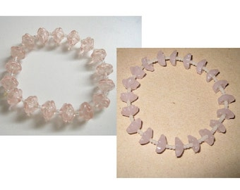Sweet Springtime Bloom Dainty Delicate Light Pink Sakura Flower Cherry Blossom Glass Beaded Stretch Bracelet - clear or opaque milky pink