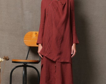 Red Linen Comfortable Maxi Dress C558