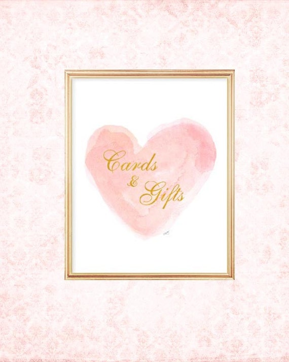 Blush Wedding Decor,Cards and Gifts Sign in Blush 8x10