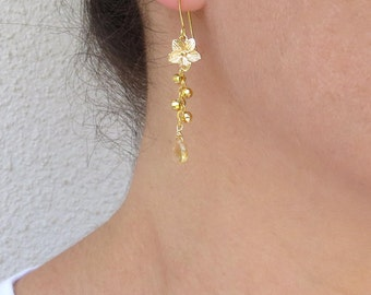 Gold pyrite earrings, Citrine drop earrings, November birthstone earrings, Gold flower earrings