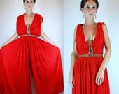 Vintage 70s Avant Garde Red Cotton Gauze Draped Palazzo Wide Leg sheer Jumpsuit. Boho ethnic Dress Grecian Romper Plunging V.  Small - Large