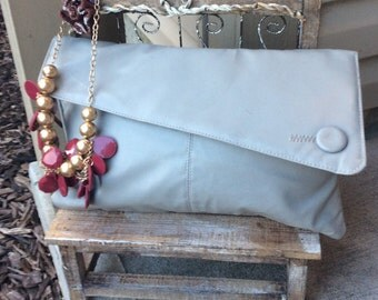 Vintage Large gray Clutch with wristlet
