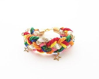 Braided bracelet - woven bracelet - friendship bracelet - colorful bracelet - rope bracelet - rope jewelry - rainbow - girl bracelet