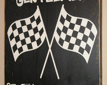 Child's Room/Nursery Wall Hanging, Distressed Wall Decor, Custom Wood Sign, Checkered Flag Sign - Start Your Engines