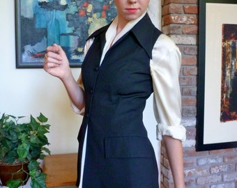 1980s Waistcoat by Sybilla for Gibo  Black Wool Gabardine Goth Pirate or Poet Look Vest NEW