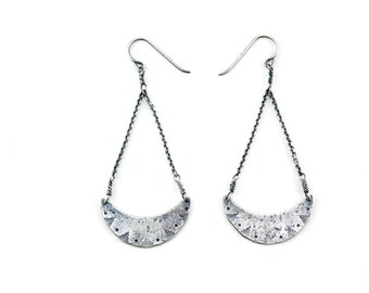 New Moon Rising Earrings - Edgy Boho Chic Sterling Silver - Rustic Textured Bohemian Earrings - Geometric Modern Dangle - Southwestern Bird