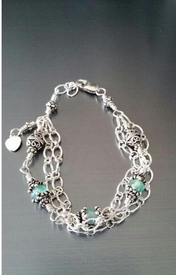 Sterling Peruvian Opal Bohemian Style Bracelet