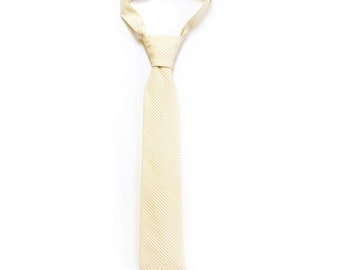 Pale Yellow Boys Tie - Boys Easter Tie - Striped Yellow and White Necktie - Yellow Wedding Toddler Tie - Yellow Baby Tie