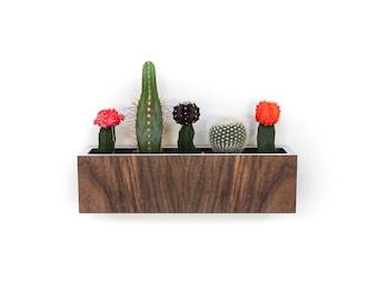 "SALE 12.5""L Wall Planter | Walnut + White Laminate | Large Petite size 12.5"" x 3.4"" sq. | NO plants"