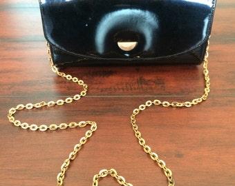 1950's Black Box Purse, Black Patent Leather Purse, 1950 Black Shoulder Bag, Chain Shoulder Strap, Black Mod Purse, Small Black Vintage bag