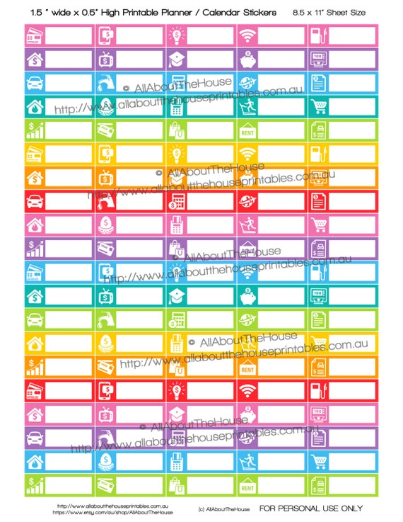bill planner stickers printable 1 5 w x 0 5h budget power cable