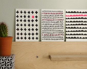 3  Graphic cards, handpulled screenprint