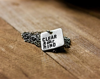 Square Pewter Hand Stamped Necklace - Gift For Him - Gift For Her - Custom Jewelry - Silver Pendant Necklace by Modern Out