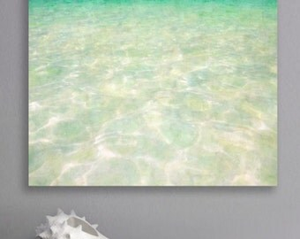 Mexico blue canvas gallery wrap print. Ready to hang seascape, no framing required, professional canvas wall art